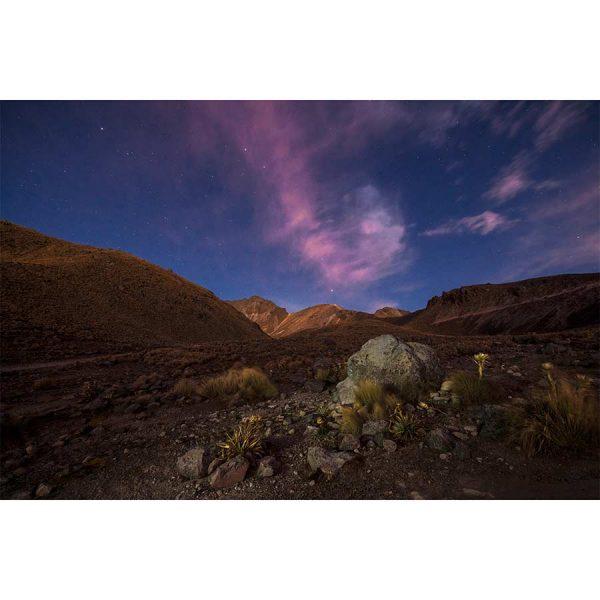 Impresion de paisaje al amanecer en el volcan Nevado de Toluca, Mexico. Fotografia de Pablo Fregoso